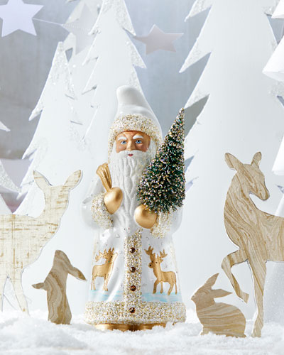 White Santa with Golden Deer Figurine