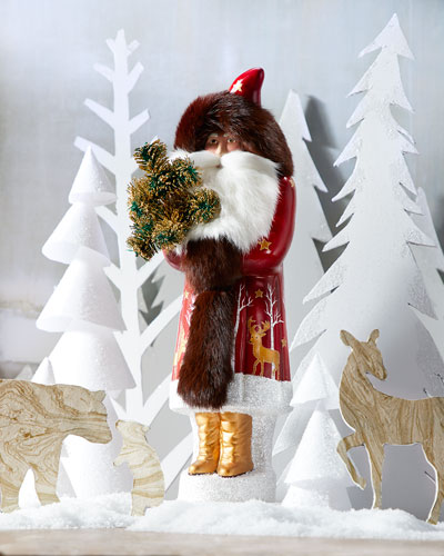 Burgundy Santa with Gold Deer Coat