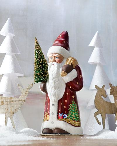 Burgundy & Crystal Santa Figurine