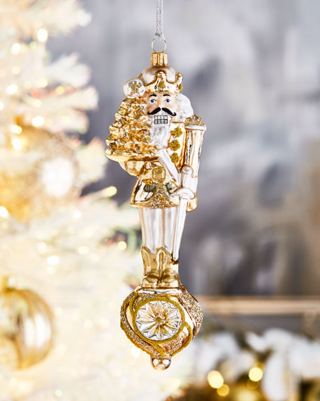 Gold Nutcracker Christmas Ornament