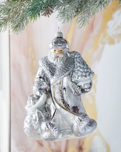 Silver Santa Christmas Ornament