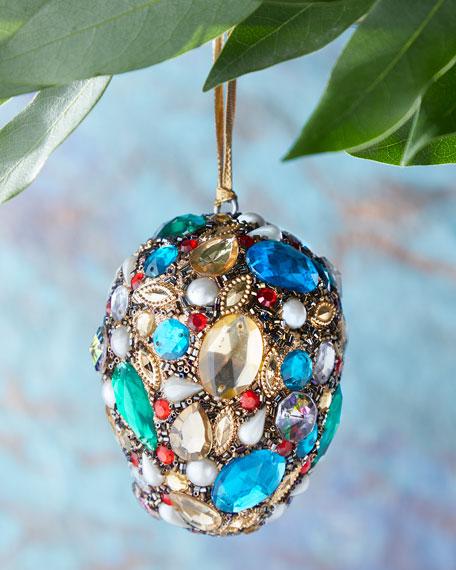 Beaded Oval Christmas Ornament