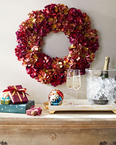 Holiday Metallic Hydrangea Wreath
