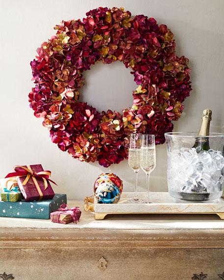 Holiday Metallic Hydrangea Wreath