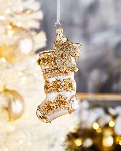 White Gold Stocking Christmas Ornament