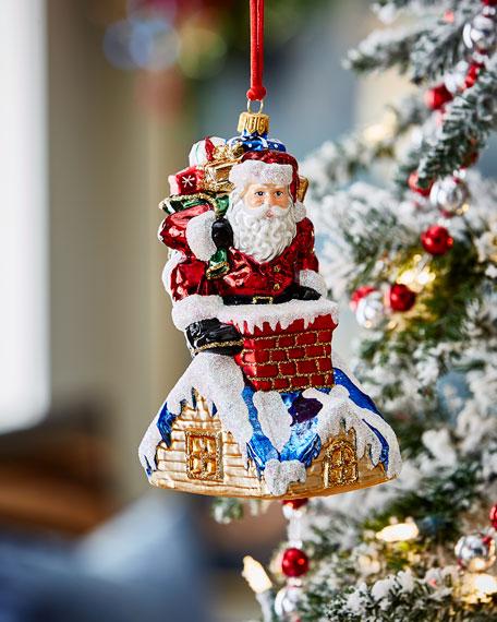 Santa In Chimney Christmas Ornament