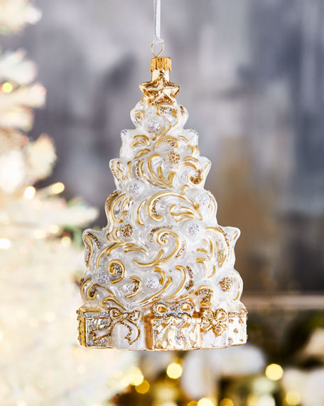 Swirling White And Gold Tree Christmas Ornament