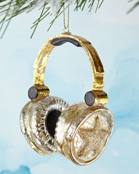 Gold Headphones Christmas Ornament