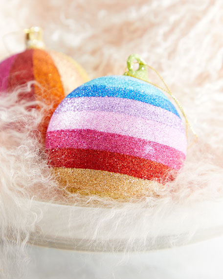 Horizontal Striped Glitter Rainbow Ball Ornament