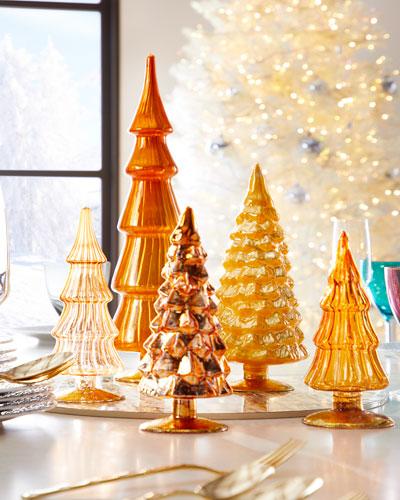 Yellow Hue Glass Christmas Trees  Set of 5