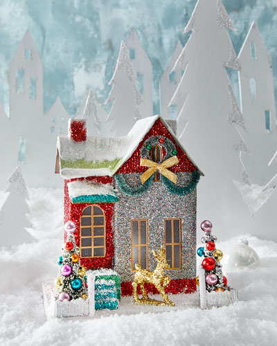 Merry and Bright Glitter Cottage Holiday Decor