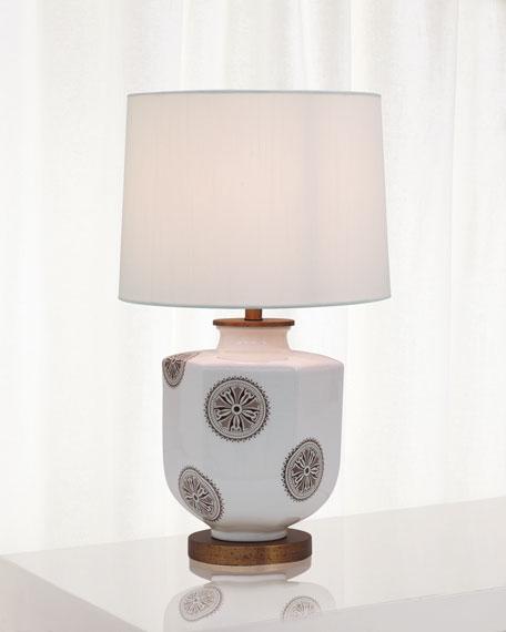 Temba Table Lamp, Brown/White