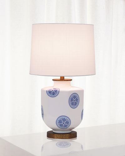 Temba Table Lamp  Blue/White