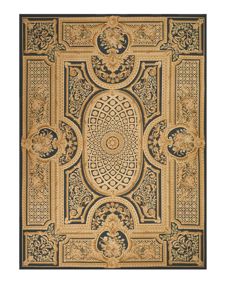 Aubusson Hand-Knotted Ebony Rug, 9.9' x 13.9'