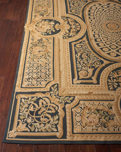 Aubusson Hand-Knotted Ebony Rug  9.9' x 13.9'
