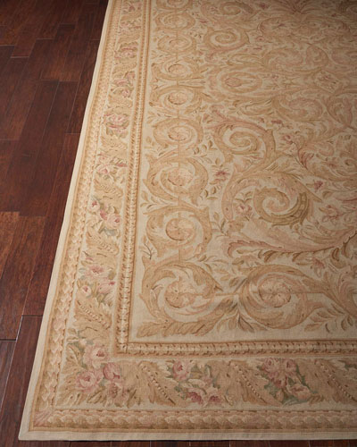 Aubusson Hand-Knotted Golden Beige Rug  9.9' x 13.9'