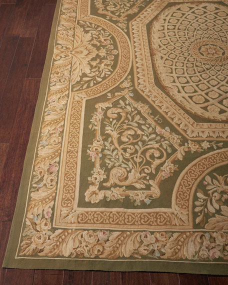 Aubusson Hand-Knotted Olive Rug, 9.7' x 13.6'