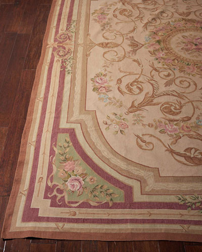 Aubusson Hand-Knotted Luminous Gold Rug  7.9' x 9.1'