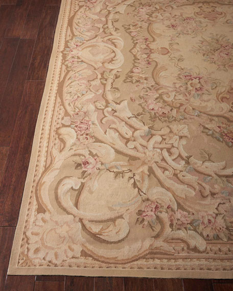 Aubusson Hand-Knotted Antiqued Rose Rug, 8.5' x 11.5'
