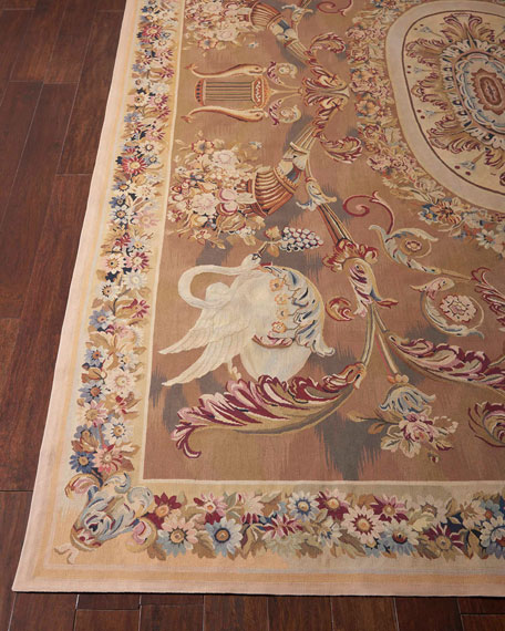 Aubusson Hand-Knotted Burnished Gold Rug, 8.1' x 12.3'