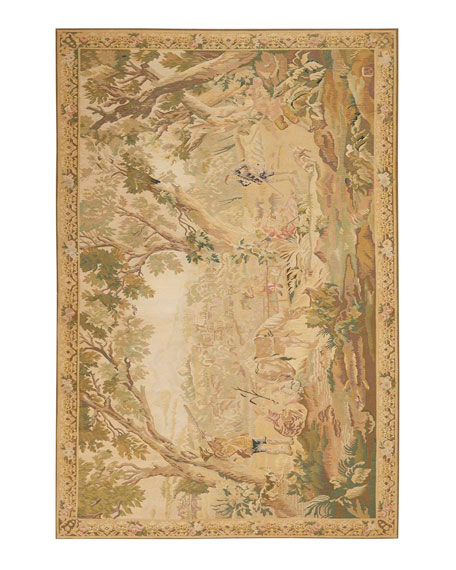 Aubusson Hand-Knotted Golden Tapestry Rug, 5.1' x 8.1'