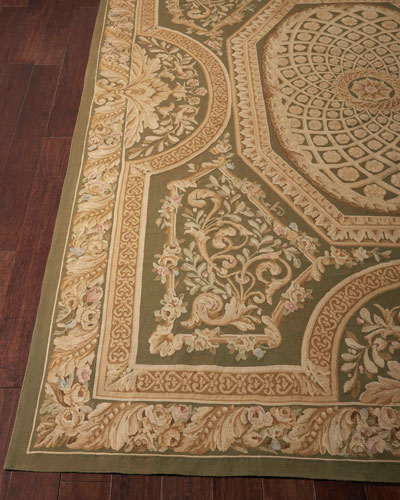 Aubusson Hand-Knotted Olive Rug  7.9' x 9.9'