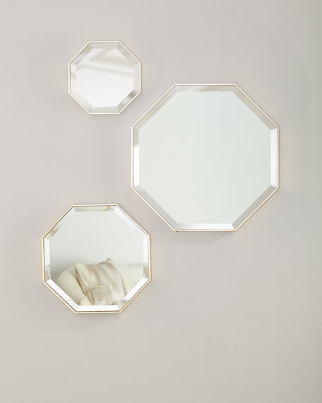 Octagon Wall Mirrors, Set of 3