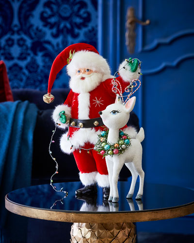 Mistletoe Santa with Reindeer Figure