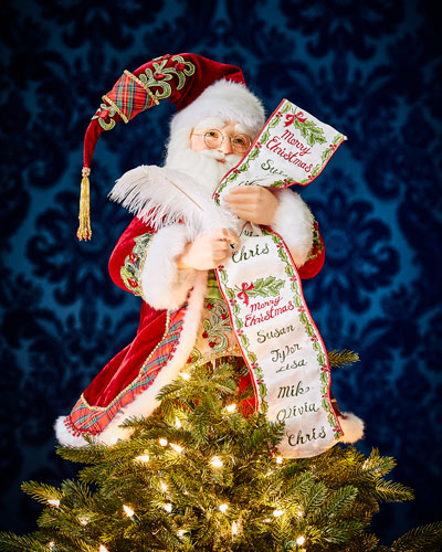 Santa with List Tree Topper