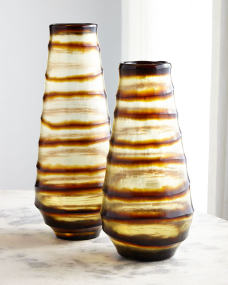 Glass Ribbon Vases, Set of 2