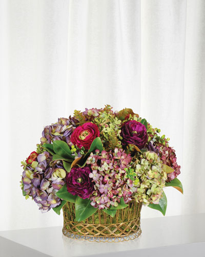 Mix Hydrangea in French Wire Planter