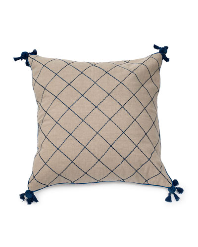 Natural Linen Quilted Tassel Pillow