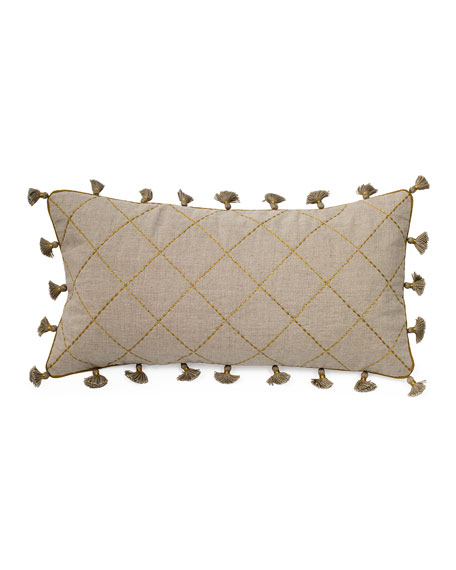 Quilted Flax and Metallic Mini Tassel Pillow