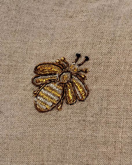 Embroidered Bee Pompom Pillow