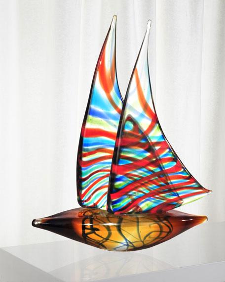 Chimera Sail Boat Art Glass Sculpture