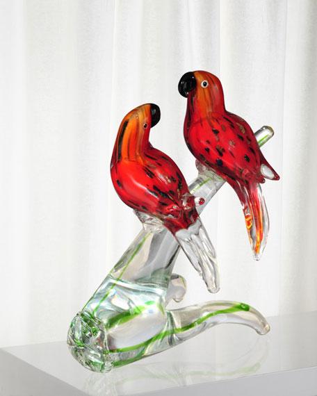 Love Birds Decorative Art Glass Figurine