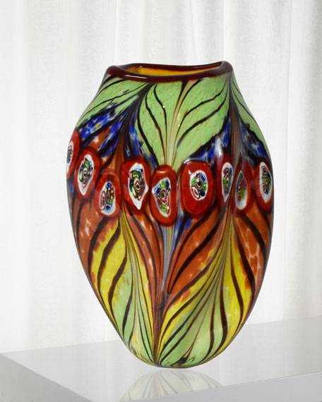 Dale Tiffany Peacock Feather Decorative Art Glass Vase