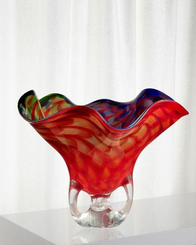 Cinnabar Decorative Art Glass Bowl