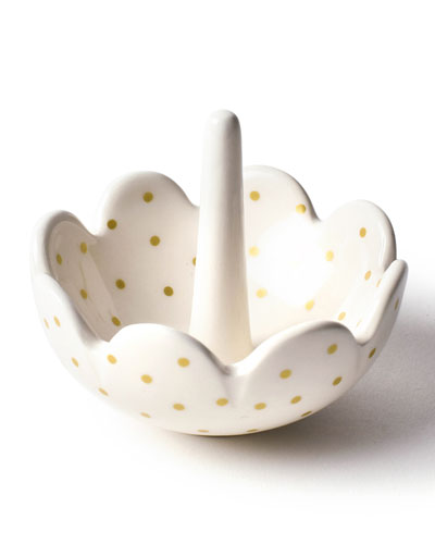 Swiss Dot Scalloped Ring Dish