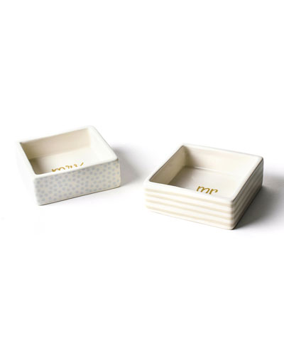 Mr. & Mrs. Square Trinket Bowls  Set of 2