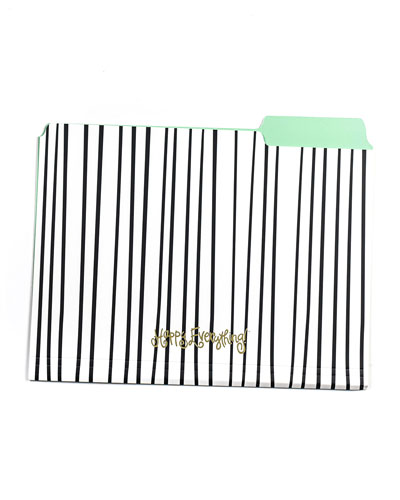 Black Stripe Happy Everything File Folders  Set of 6