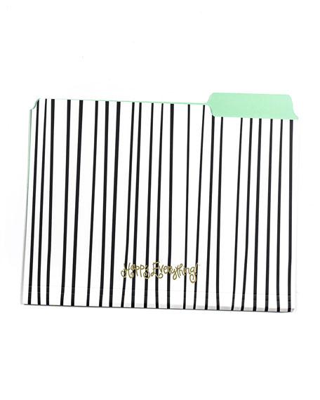 Black Stripe Happy Everything File Folders, Set of 6