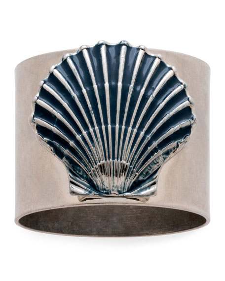 Painted Shell Napkin Rings, Set of 2