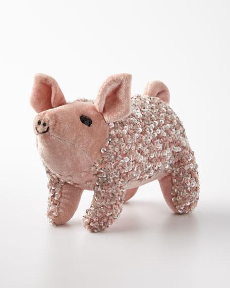 Old Rose Lux Sequins Pig Decor
