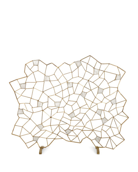 Geometric Firescreen w/ White Quartz