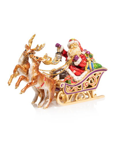 Santa and Reindeer Musical Sleigh Christmas Decor