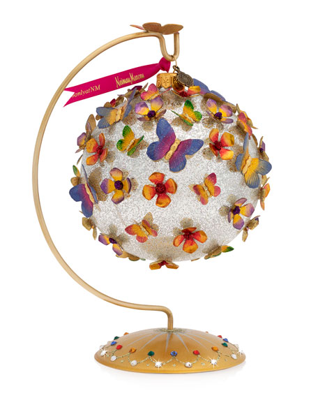 Jay Strongwater Rainbow Butterfly Glass Ornament