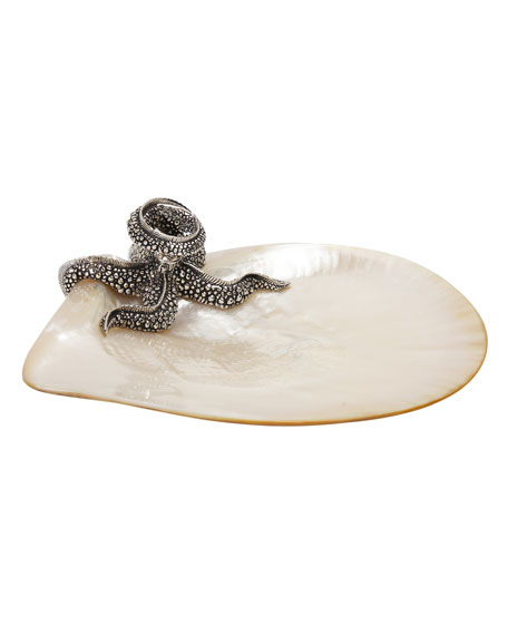 Mother of Pearl Plate with Silver Starfish