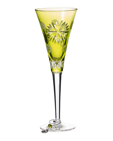 Snowflake Wishes Prosperity Champagne Flute, Lime