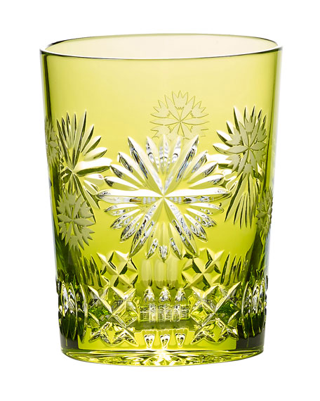 Snowflake Wishes Prosperity Double Old-Fashioned Glass, Lime